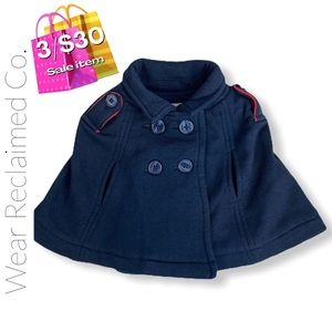Baby Girl Navy Buttoned Cape Coat  6-12 Months